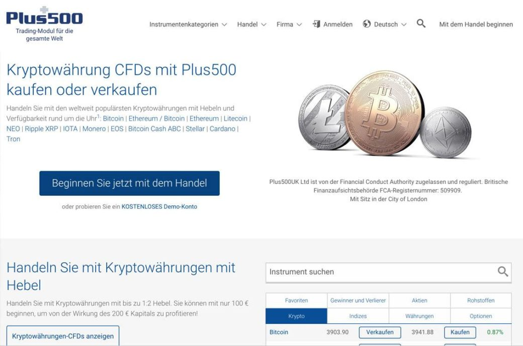 Bitcoin-Trading auf Plus500